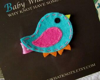Bird Hair Clip, Blue Bird Baby Hair Clippies, Girl Barrette, hcbird01