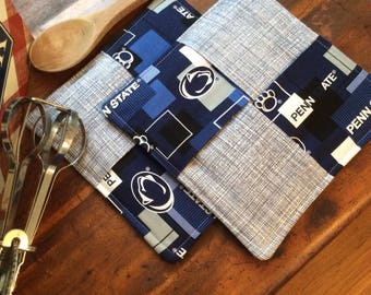 Handmade, quilted, Penn state pot holders, hot pads, PSU, Nittany lions, blue, white, gift giver