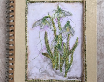 Fiddlestitch Snowdrop Notebook, a Notebook for Flower Lovers