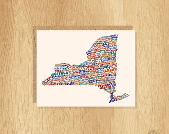 Hand lettered New York Card, New York Shape Card, New York Cities Card, New York Notecard