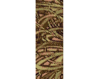 Abstract Grass Peyote Bead Pattern, Bracelet Cuff, Bookmark, Seed Beading Pattern Miyuki Delica Size 11 Beads - PDF Instant Download