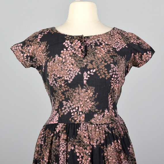 Pink Dress Waist Spring Black Summer 50s 2XL Vintage Sleeves Drop Day Dress Brown Floral Short Floral Cotton 1950s Print 7qwgY8