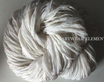 White Chiffon Sari Silk, Fair Trade Sari, Sold Per 6 Yards, Silk Textile, Textile Fiber, Ribbon, Yarn, Bracelet Ribbon, ArtWear Elements 55b