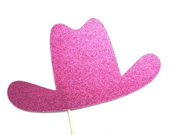 Photo Booth Props - HOT PINK GLITTER Cowgirl Hat Prop - Birthdays, Weddings, Parties - Photobooth Props