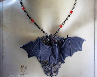 RESERVED necklace & earrings Set - Bats - gothic, halloween, batwing necklace, bats, vampire, Dracula, spooky, bitten,