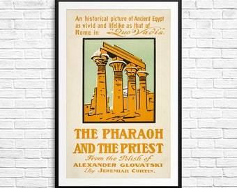 Book print, Pharaoh and Priest, Alexander Glovatsky, book art, book cover art, book plates, vintage books, library wall art, library prints