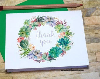 Succulent Wreath Wedding Thank You Cards - Succulent Plant Stationery - Bridal Shower Cards - Stationary - Thank You Succulent Wedding DM205