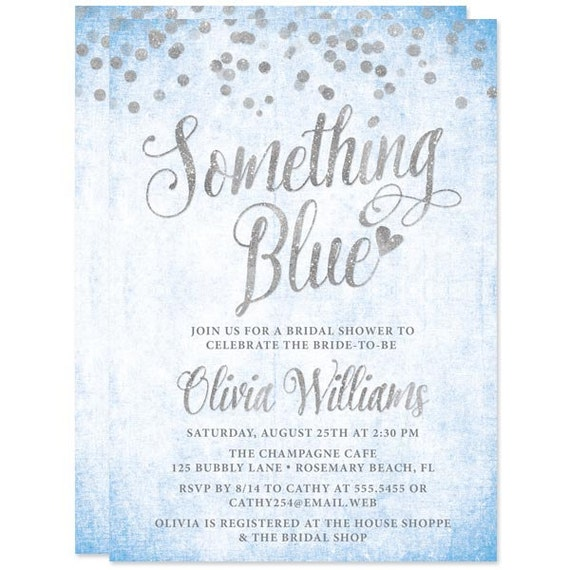 Something blue bridal shower invitations printed bridal filmwisefo Image collections