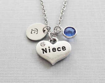 Niece Necklace, Heart Necklace, Heart Rhinestone, Birthday, Swarovski Birthstone, Silver Initial, Personalized Monogram, Hand Stamped Letter