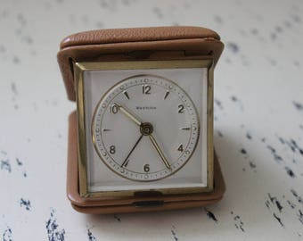 Vintage Westclox Travel Alarm Clock tan Case Train Case luggage