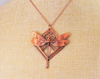 Electroformed Real Dragonfly Copper Necklace G19