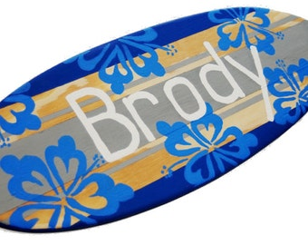 Personalized Surfboard, 18 inch Surfboard Art, Family Name Sign, Kids Surfing Sign