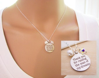 Thank You for Raising the Man of my Dreams - Mother in Law Necklace - Wedding Gift - His & Hers Birthstones - Sterling Silver Necklace