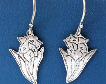 Vintage Sterling Silver Flower Daffodil Drop Dangle Earrings