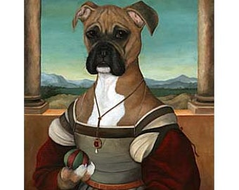 Boxer Canvas Prints, Betsy Dog Portrait, Dog Lover Gift, Animals in Clothes