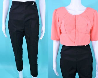 1950s black capris | black high waisted DEADSTOCK cotton pinup pedal pushers | vintage 50s capris | W 24""