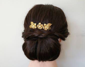Gold hair comb, gold wedding hair comb, gold wedding hair piece, gold  bridal hair comb, gold bridal hair piece, gold flower hair comb