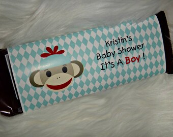 Sock Monkey Std Size Candy Bar Wrappers Birthday Party Baby Shower Favors
