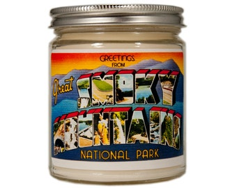 Smoky Mountains Candle, Smoky Mountains Gift, Homesick Candle, Container Candle, Soy Candle, Candle Gift, Smoky Mountains Postcard