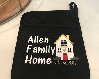 Personalized Housewarming New House Family Pot Holder