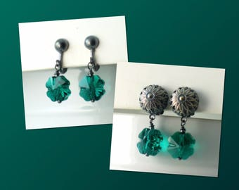 Green Shamrock Swarovski Crystal Clip on Earrings, Four Leaf Clover Drops, Emerald Green Crystal Dangles, St Patricks Day, Irish. Lucky