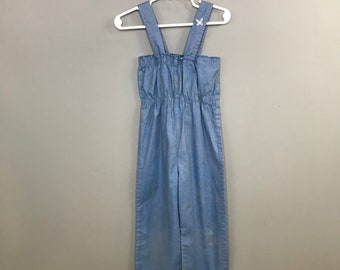 1970s Girls Blue Denim Style Romper / Vintage Elastic Waist Little Girls Jumpsuit /  6T Girls Toddler 6 Year