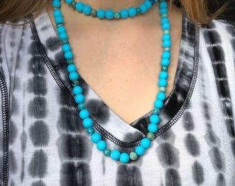 Glass & Jasper Short Double Wrap Necklace