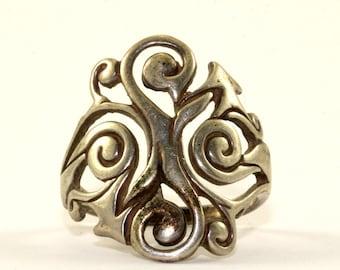 Vintage Dakota West Scroll Elongated Design Ring 925 Sterling Silver RG 2424