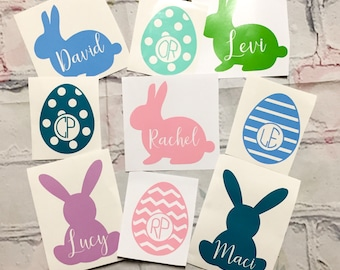 """Personalized and Monogram Easter egg and Easter bunny 3"""" decal your choice, 30 colors available!"""