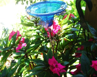 CONTAINER GARDENING, Butterfly Feeder, stained glass,  Teal BLUE, copper, garden stake, Garden Art