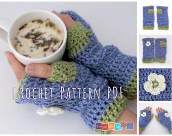 PDF Crochet Pattern, Fingerless Gloves Pattern, Crochet Instant Download Pattern, Fingerless Mittens Adult size, Beginner Crochet Tutorial
