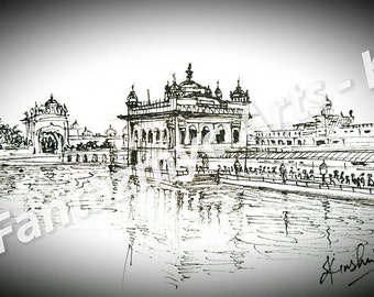 Golden Temple in Black and White