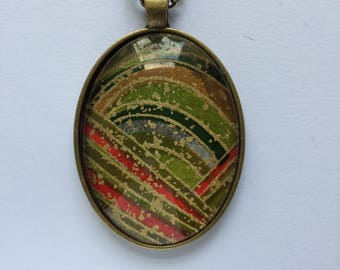 Pendant made with Japanese Chiyogami paper - Oval JP15