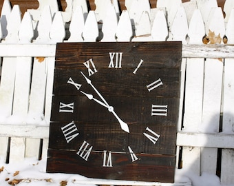 """Large 26"""" by 26"""" Reclaimed Wood Wall Clock.  Dark Walnut Stain.  Handsome, timeless.  Made to Order.  Custom."""