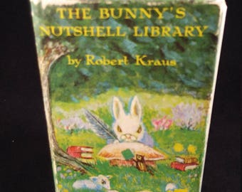 Bunny's Nutshell Library Book by Robert Kraus, Boxed Book Set, Four Titles, First Edition, Out of Print, 1965 Harper and Row