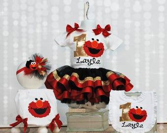 Elmo Fancy Birthday Boutique Tutu Outfit - Sesame Street I'm One Birthday Tutu set - First Birthday Bib Bloomers Headband