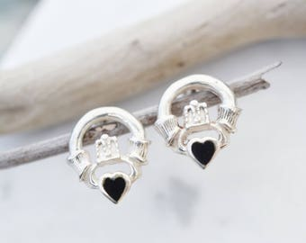 celtic claddagh hallmarked sterling irish stud earrings jewelry silver