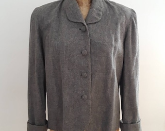 Vintage 1940's Grey Wool Boxy Swing Jacket Waist Length Sz Small WWII Era Joan Crawford