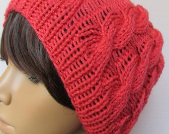 Cable Knit Slouchy Beanie in Salmon Pink