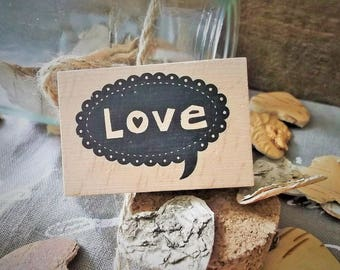 "Wooden rubber stamp ""Love"" new love theme"