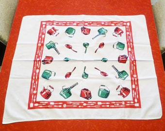 Vintage 1950s Startex Pots & Pans Tablecloth with tag - Red, White, Green Dishes and Utensils Mid-Century Small Table Square - Kitchen Decor