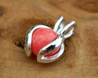 Interchangeable Pendant with handmade 8mm red carnelian stone