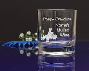 Personalised Engraved Happy Christmas Mulled Wine tumbler, mixer glass. great X-mas gift, present 65