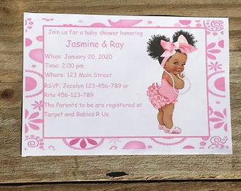 Personalized Baby Shower Invitation African American Girl African American Princess