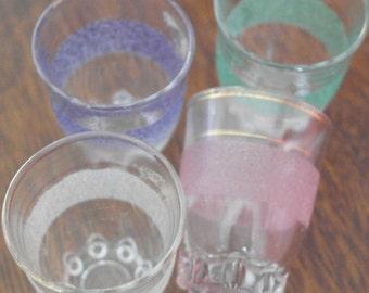 vintage set 4 1950 shots glasses