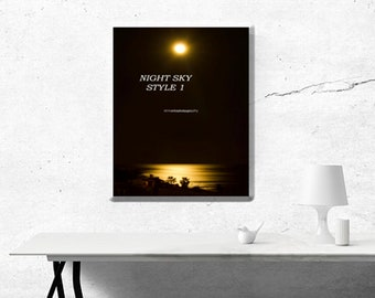 Colourful Wall Art ~ Original Photo, Photography Prints, Professional, Gifts, Presents ~ Moonlit Sea ~ Ready to hang Images ~ Golden Sea
