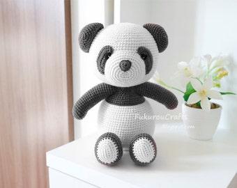 Pattern: Crochet Pink Panda Bear doll.