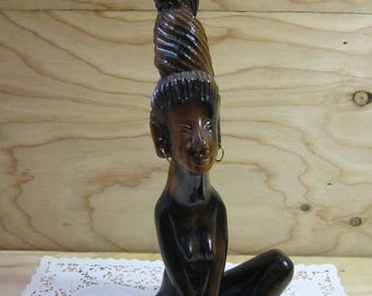"""Vintage African Woman Decorative Statue * African Woman Wood Carving * Ethnic Carved Naked African Woman * 14"""" Tall"""