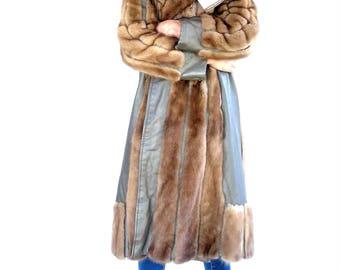 NEW PRICE - Vintage Authentic Mink Fur and Genuine Leather Three Quarter Length Coat