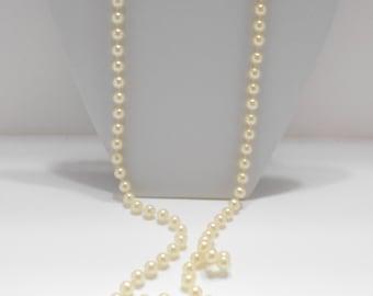 """Vintage 46"""" Faux Pearl Necklace (3267)  (BP) 7mm"""